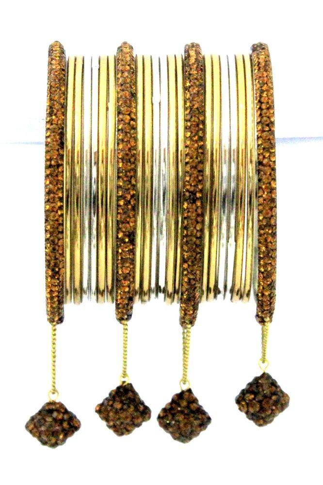 22 Pieces Indian Jewellery Multi-Coloured Crystal Metal Bangles Jhumke Bracelet  #mycrystalbanglesdotcom #Bangle