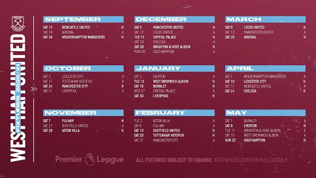 Max Sports West Ham United Premier League Fixtures 2020 21 In 2020 The Unit West Ham United Premier League Fixtures