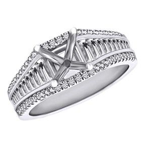 1.31Ct D/VVS1 Semi-Mount Engagement Ring Round Cut 10K White Gold Bridal Jewelry by JewelryHub on Opensky