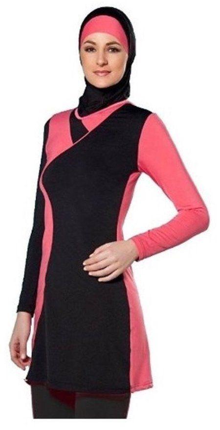 Doraer Muslim Swimsuit Full Cover Islamic Swimwear Modest Swimwear Beach Burkini(BlackPink Asia L~Ref.US Size 6-8)