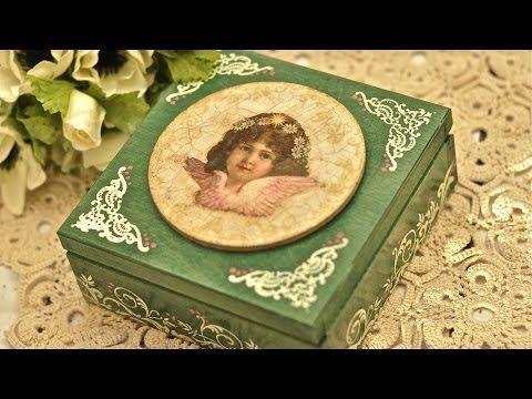 ▶ Decoupage krok po kroku - kasetka z aniołkiem - YouTube