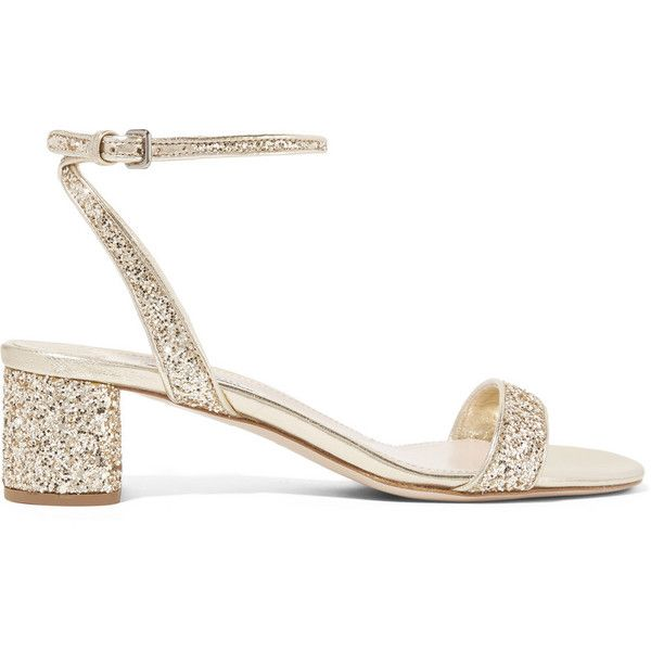 Miu Miu Glittered leather sandals ($535) ❤ liked on Polyvore featuring shoes, sandals, heels, miu miu, gold, glitter sandals, miu miu sandals, buckle sandals, mid-heel shoes and heeled sandals