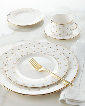 kate spade new york 5-Piece Gold-Dot Dinnerware Place Setting : white and gold dinnerware - pezcame.com