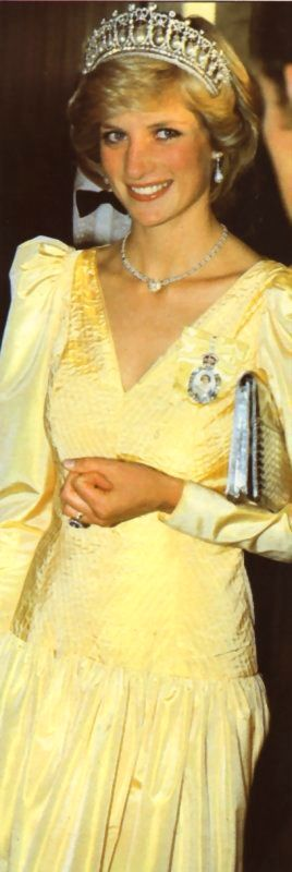 HRH The Princess of Wales in a lovely yellow gown and the Cambridge Lover's Knot tiara.