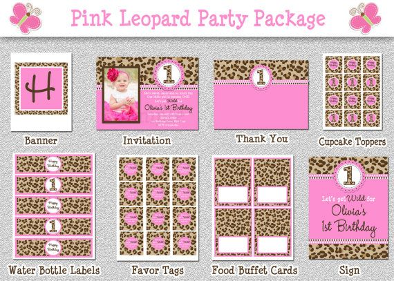Leopard Birthday Party Package , Hot Pink Leopard Birthday Party Invitation Printable by The Trendy Butterfly