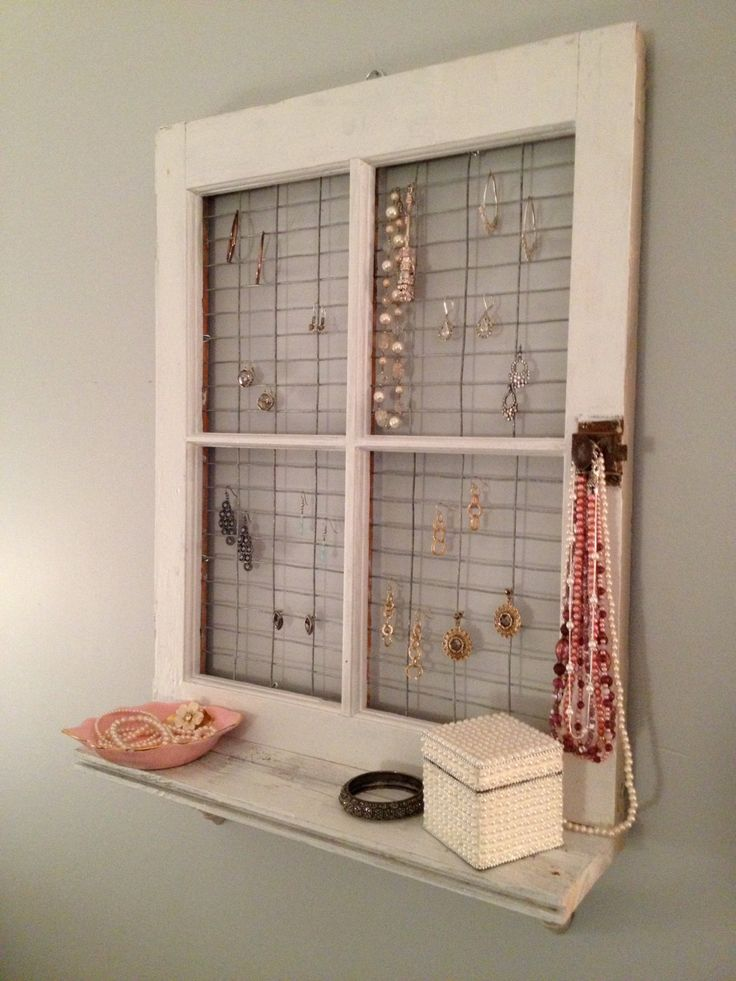 Vintage Window Frame And Shelf Wall Decor Shelves