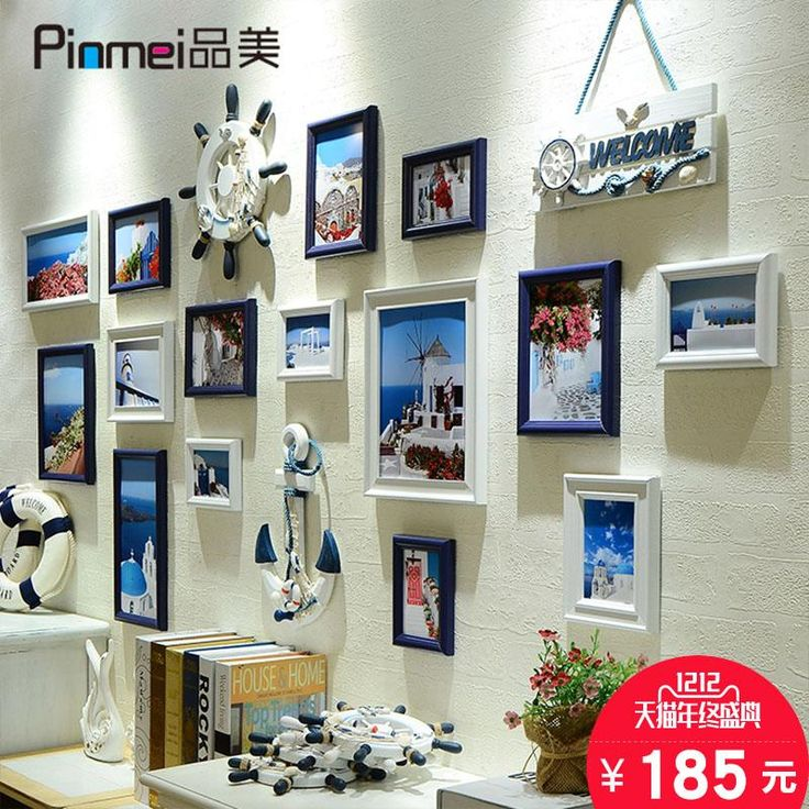 New Large Living Room Photo Wall Mediterranean Photo Wall Large Size Photo Frame Wall Picture Frames Home Decoration Accessories