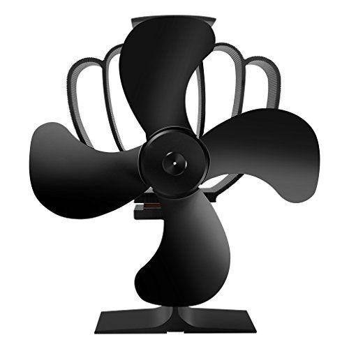 Finether Heat Powered Wood Stove Fan|Freestanding 4-Blade Economical Fireplace Fan for Wood/Log Burner/Fireplace.