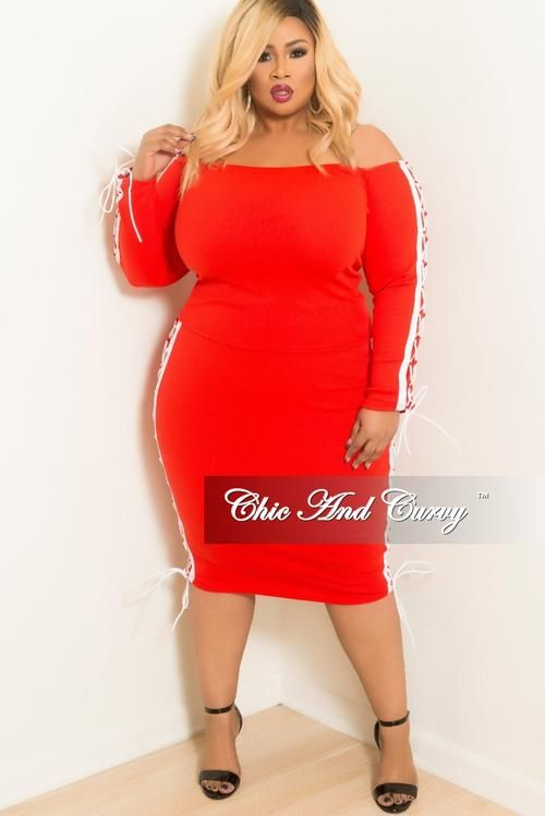 31e180619dc Final Sale Plus Size 2pc Off the Shoulder Lace Up Top and Skirt Set with  White Trim in Red