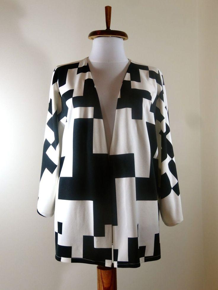 Black and White large print kimono blazer  by Noomi