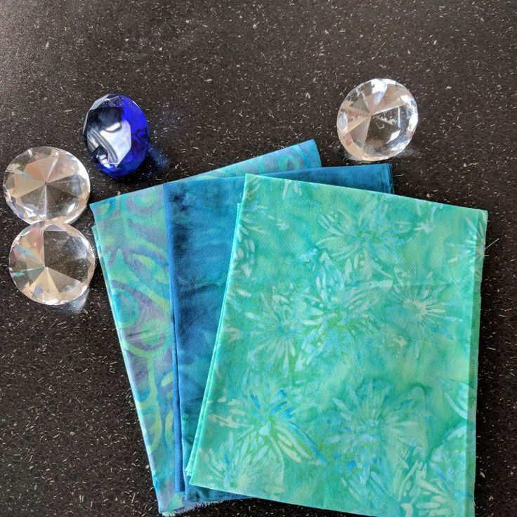 "Fat Quarters x 3 ""Little Gems"" Batik 100% Cotton in cool blues and greens"