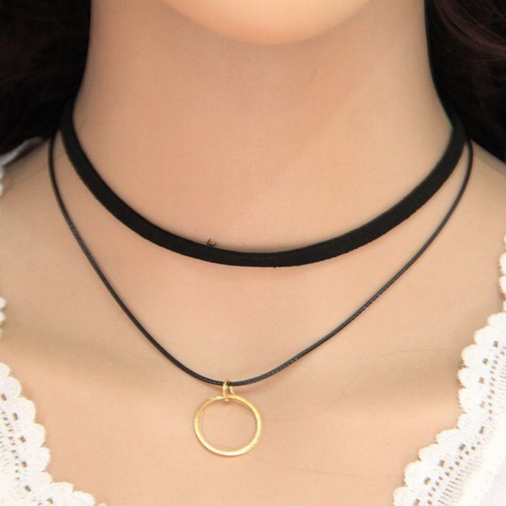 HOUDA 2017 Fashion Round Circle Black Rope Necklace & Pendant Collar Choker Necklace Women Neutral Jewelry Accessories N3367