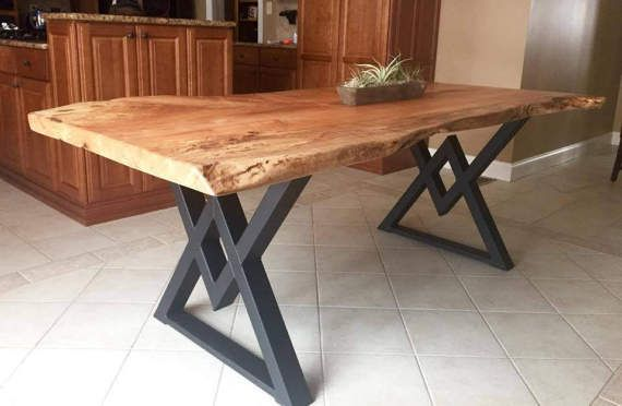 The Diamond Dining Table Legs, Industrial Legs, Sturdy Heavy Duty Set of 2 Steel Legs
