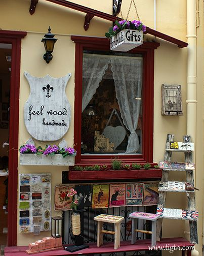 Shop window of Feelwood Handmade, one of #Nafplio's favorite craft shops in the old town. #Peloponnese - #Greece