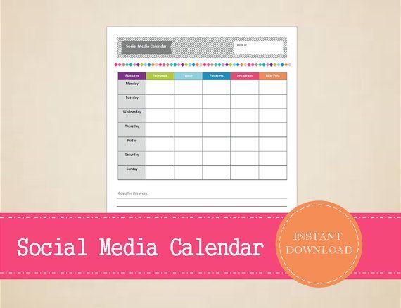 Colorful Weekly Social Media Calendar  Social by MBucherConsulting