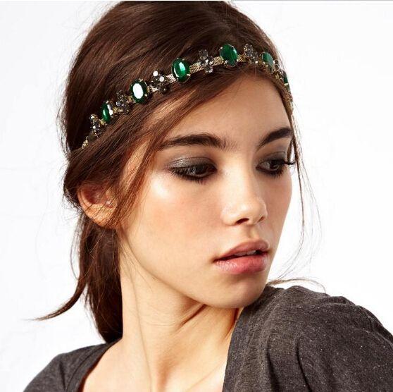Американский горячая распродажа яркий Emeral кристалл повязка на голову женщины регулируемая повязки мода лоб ювелирные украшения для волос