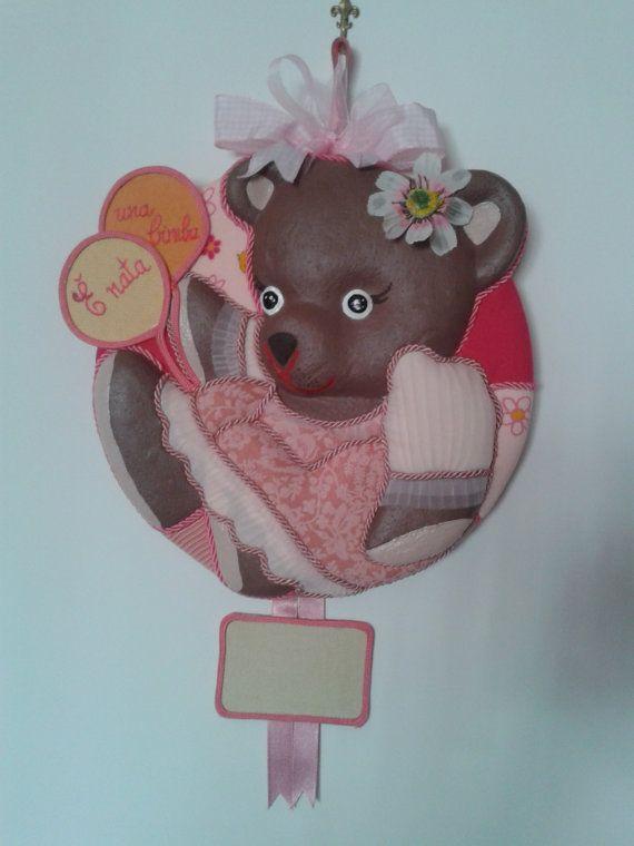 Fiocco nascita bimba  Linea orsetti  di LofficinaCreativa su Etsy