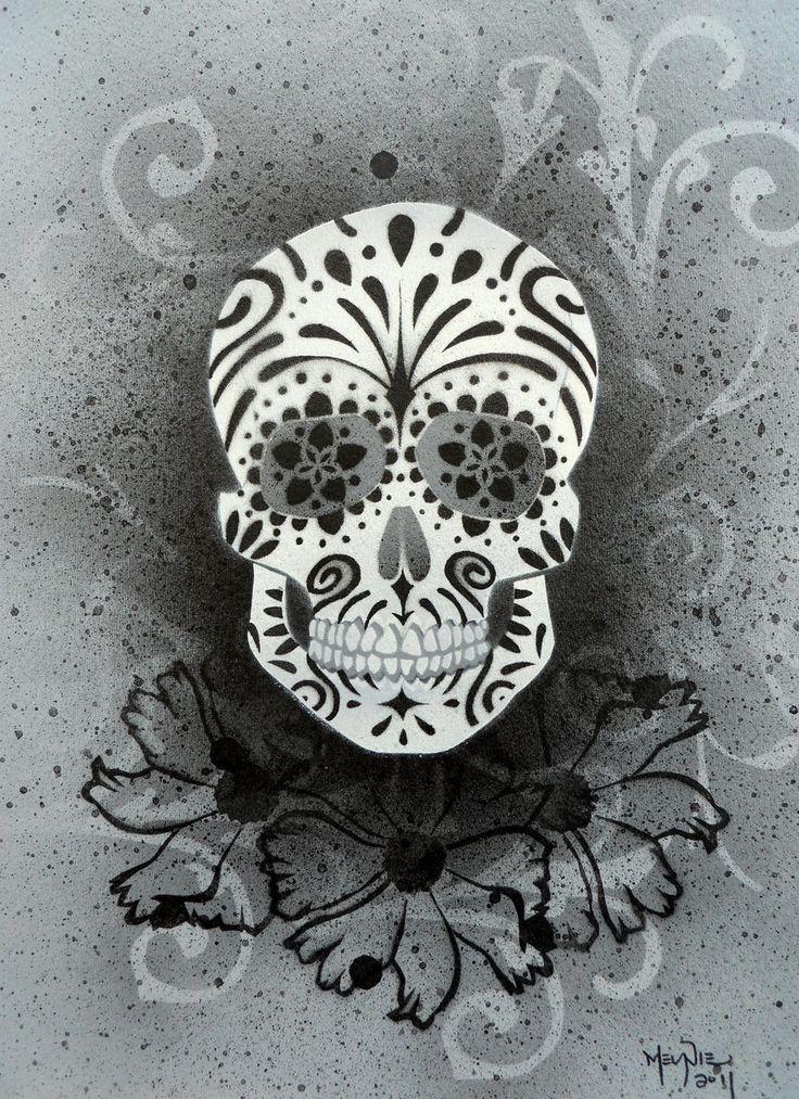 Sugar Skull Stencil Print 4 by *darcydoll on deviantART