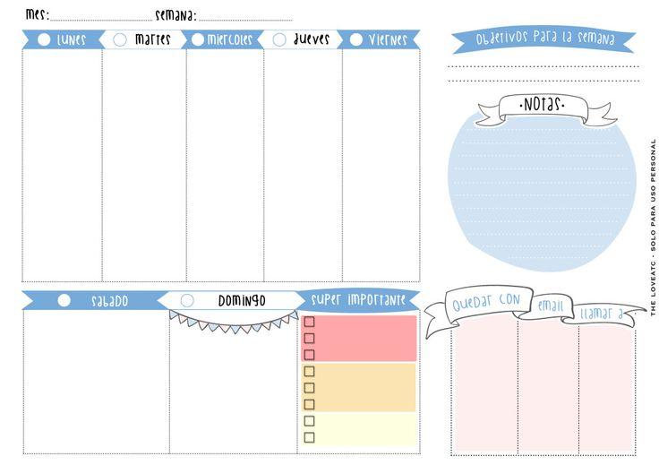 planificador semanal gratuito en varios idiomas!