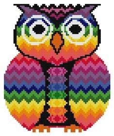 Bargello Zigzag Chakra Owl Counted Cross Stitch by TheGiftMarket, $3.00