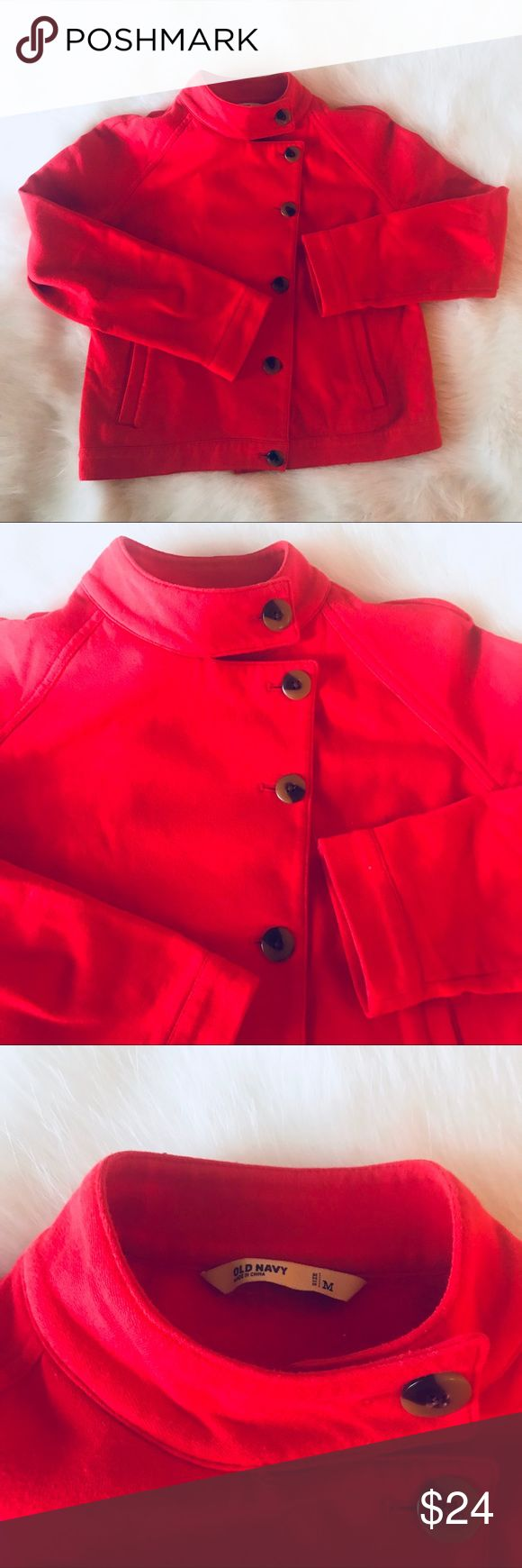 Great RED ORANGE JACKET Adorable With Just The Right Amount Of Texture. Light  Weight, Comfortable