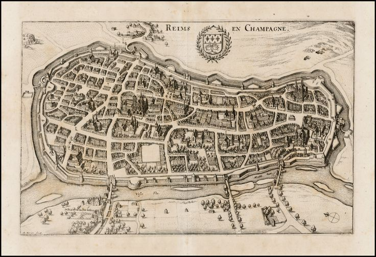 Reims - Champagne by Matthaus Merian 1638 Barry Lawrence Ruderman Antique Maps Inc.