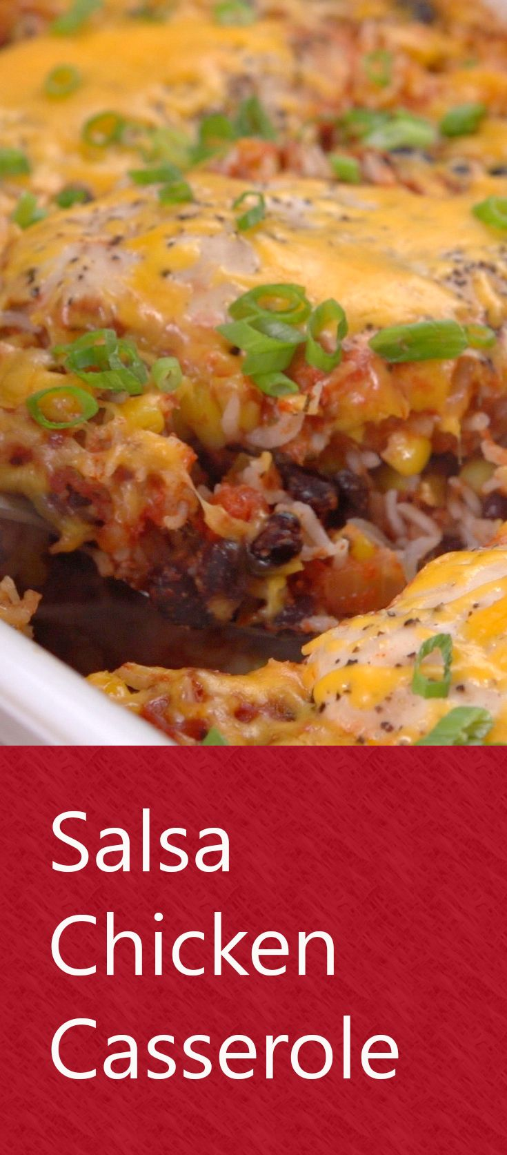Salsa Chicken Casserole |Dinner doesn't get much easier than this— or tastier! Throw chicken, salsa, corn, rice and spices into a baking dish and toss it in the oven. In about an hour you'll have a deliciousTex-Mex meal the whole family will enjoy. And your budget will too. Click for the recipe and how-to video. #familydinner #budgetfriendlyrecipes #easyrecipes #dinnertime