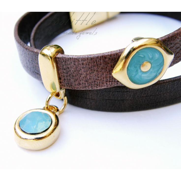 this is it! Brown leather, Evil Eye with turquoise enamel  & big Swarovski Stone in Pacific opal for my lovely #toolittle bracelet