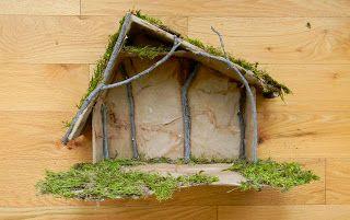 bright apple blossom: Nativity Stable Tutorial (cardboard, sticks, craft paper, moss, glue)