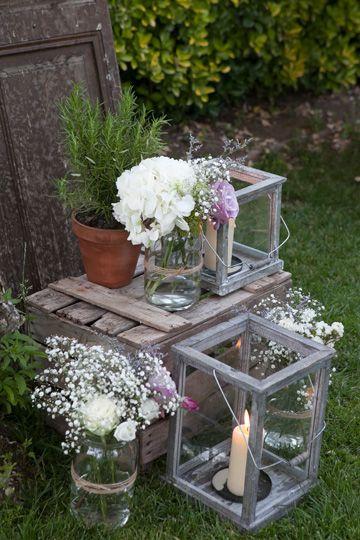 Deco flores cajas y cristal