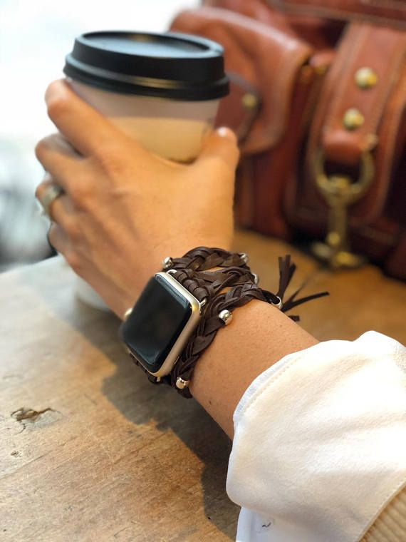 68a3f0b88 Hand Crafted Women's Leather Apple Watch Wrap Band #applewatch #iwatch # applewatchband #applewatchbandleather #applewatchwrapband  #applewatchbraidedband ...
