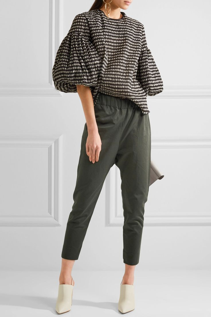 Marni | Cropped cotton and linen blend-twill pants | NET-A-PORTER.COM
