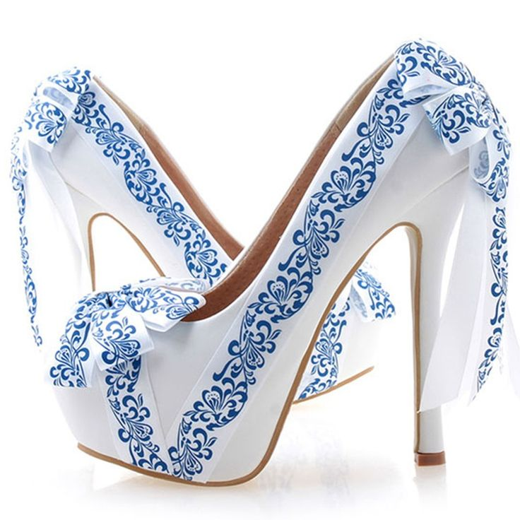 Shoespie Blue and White Porcelain Print Knot Platform Bridal Shoes