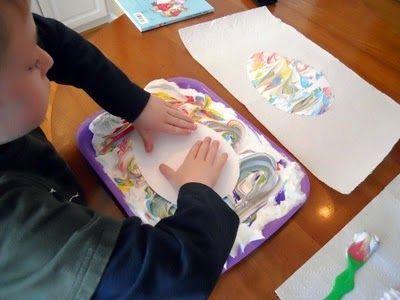 Little Wonders' Days: Shaving Cream Painted Easter Egg Cards