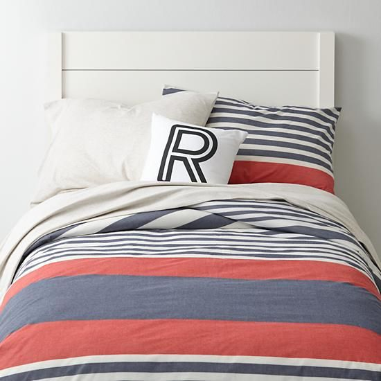 red + white + blue boy's room bedding | coastal | Bylines Striped Kids Bedding (Blue/Red) | The Land of Nod