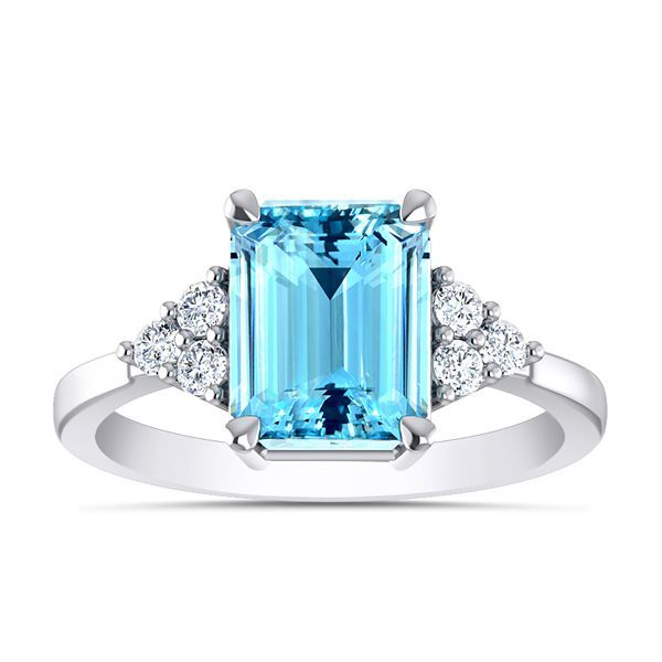 Piscis Diamond and Aquamarine Ring #BlueDiamondStone #BuyRing
