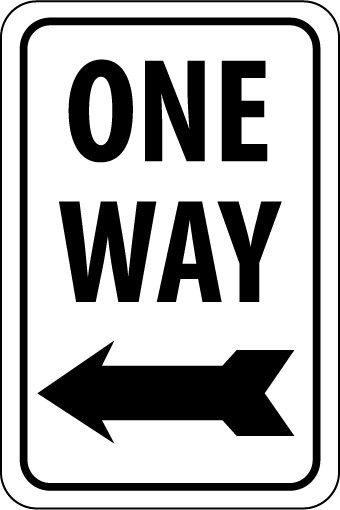 ONE WAY (WITH LEFT ARROW), 18X12, .040 ALUM