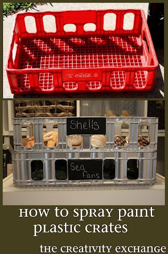 How to Spray Paint Plastic Crates - Silver with chalkboard labels. ~