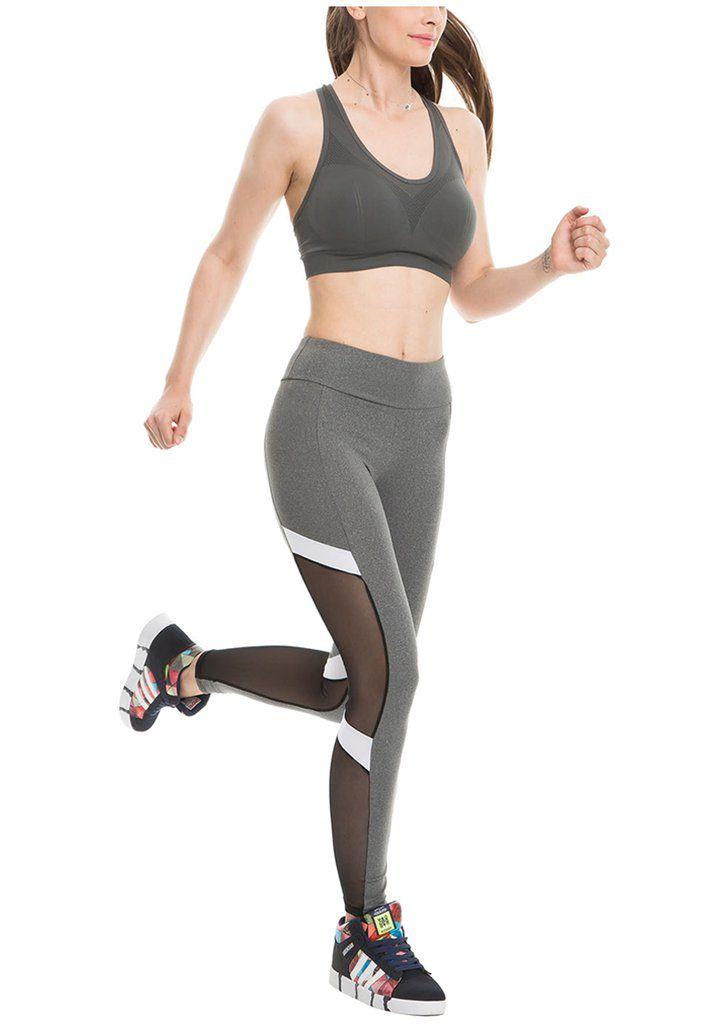 8e148999b5 Women Yoga Leggings Mesh-Insert Stretchy Workout Pants in 2018   Yoga  Leggings   Pinterest   Yoga leggings, Leggings and Yoga