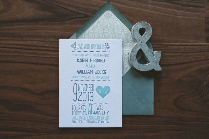 Letterpress Wedding Invitation: Modern teal and Gray Whimsical Heart by WideEyesPaperCo on Etsy https://www.etsy.com/listing/176037738/letterpress-wedding-invitation-modern