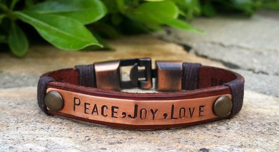 Womens Copper Plate Leather Bracelet Personalized Roman Numeral Custom Quote Leather Jewelry Copper Anchor Clasp Inspirational Bracelet