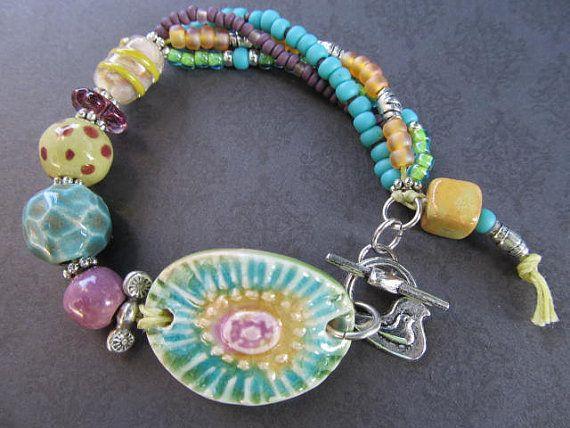 Handmade Summer Flower Bright Ceramic Multi by LindaNiemanJewelry, $40.00 Beautiful love the colours.