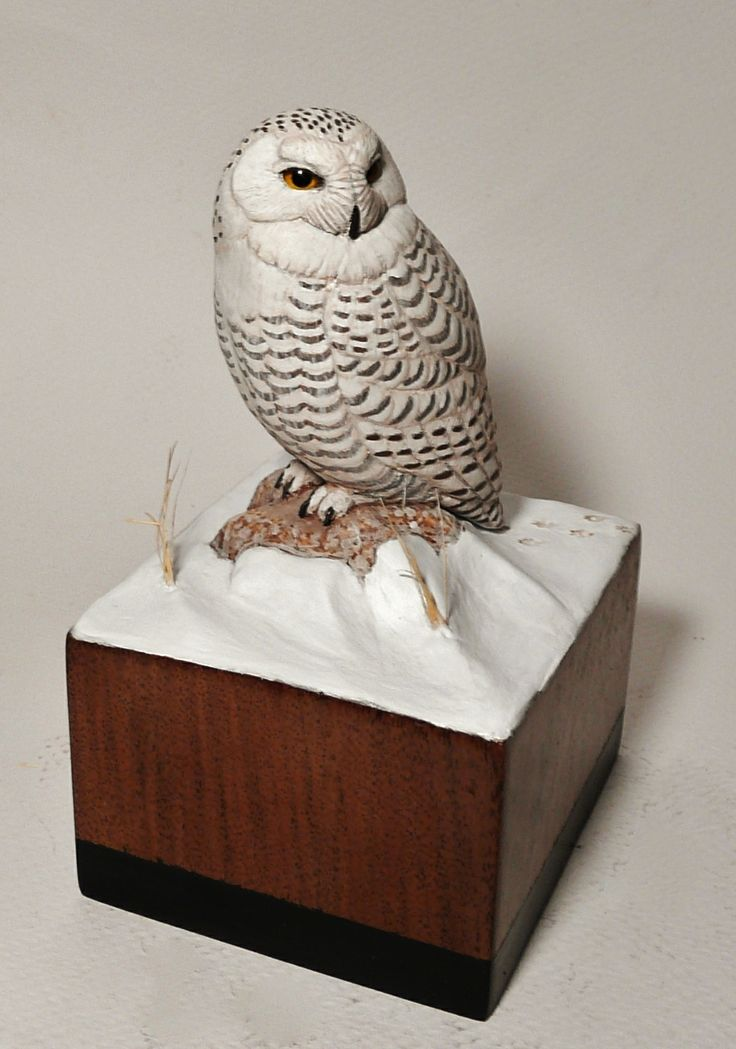Miniature snowy owl carving carved by tim mceachern at