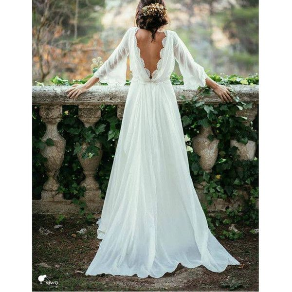 Discount Elegant 3/4 Long Sleeve Backless Bohemian Wedding Dresses 2017 New Cheap Summer Court Train Ruched Chiffon Plus Size Beach Bridal Gowns Long Wedding Dresses Plain Wedding Dresses From Cc_bridal, $80.41| DHgate.Com