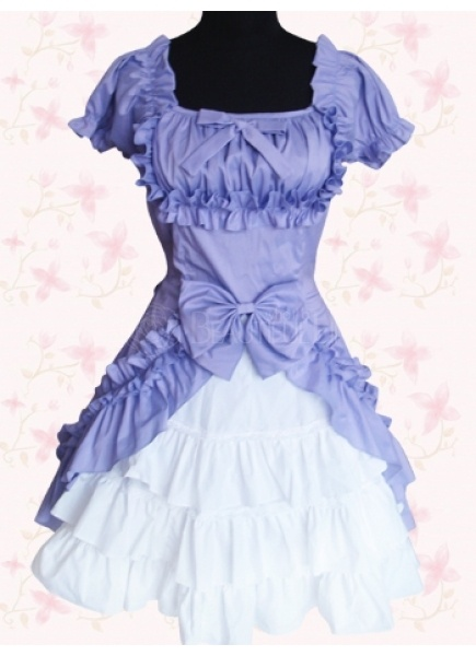 Sweet Square Empire Tiers Bow Knee-length Cotton Lolita Dress With Ruffles