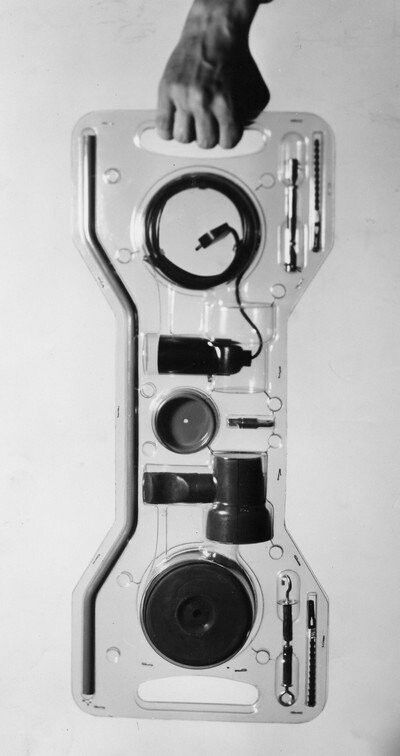 Achille Castiglioni Parentesi. I think this is electrical components for a lamp packaging PD
