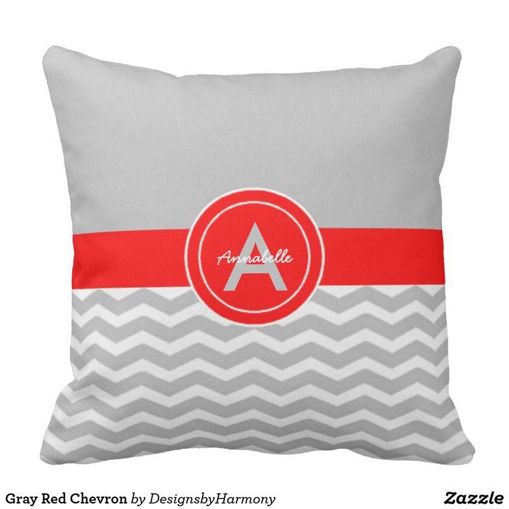 Gray Red Chevron Throw Pillow