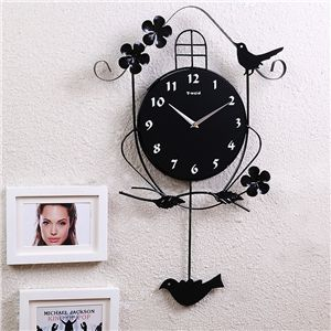 時計 壁掛け時計 振り子時計 静音時計 アニマル時計 鳥 子供屋