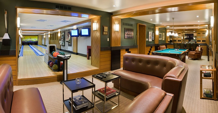 Game room / Lounge with bowling alley, pool table, bar, and more...
