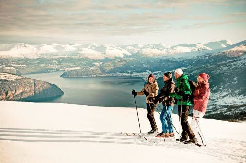 Skiing with a fjord view! View of the Nordfjord from Breimsbygda Ski Centre in Gloppen.